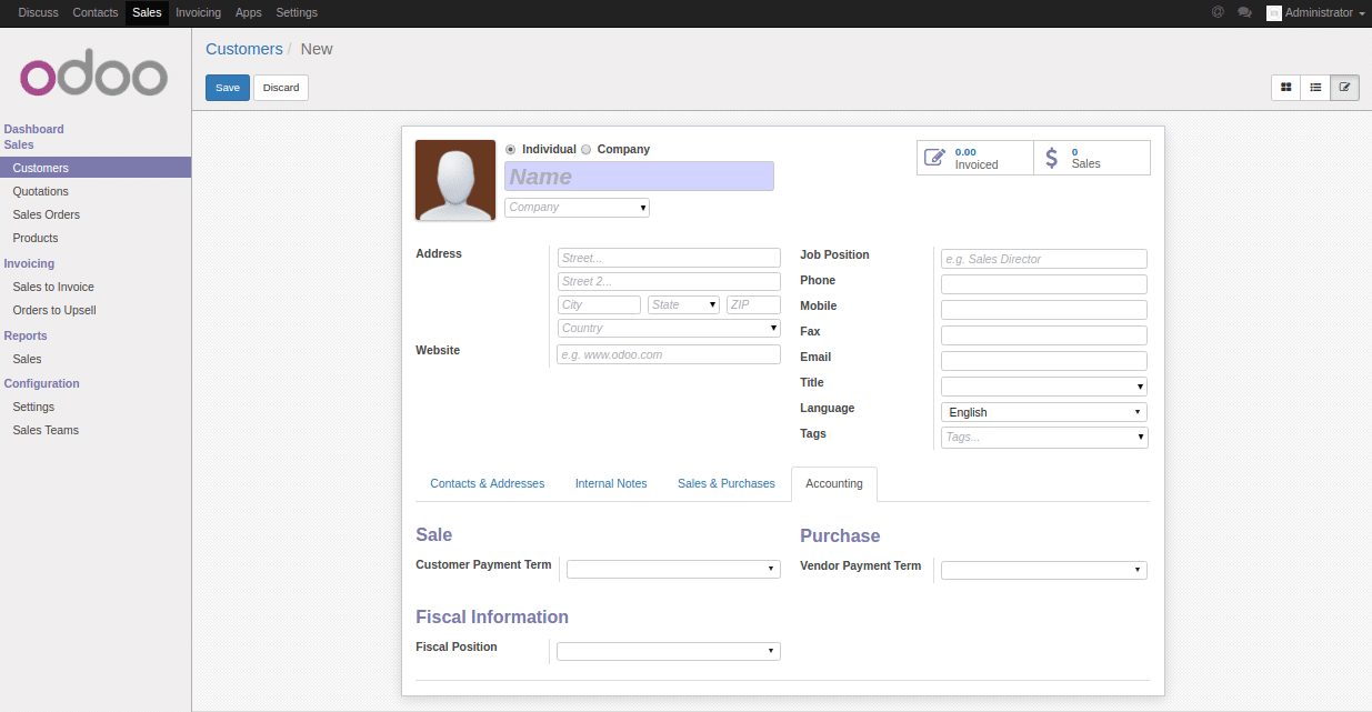 Set a default value from the user interface in Odoo /OpenERP