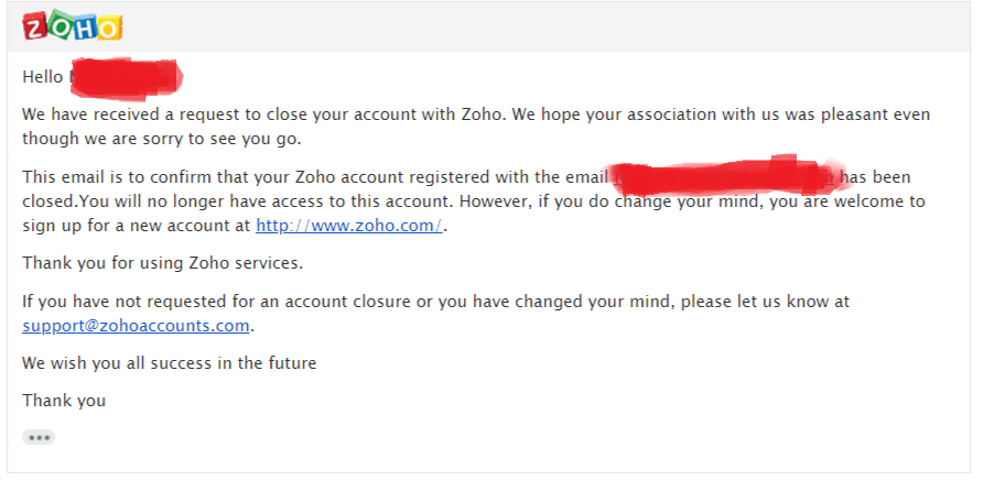 How to delete your Zoho account Permanently? - Target